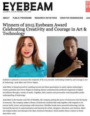 Ayah Bdeir Awarded 2015 Eyebeam Award Celebrating Creativity and Courage in Art & Technology