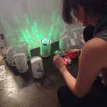 Emily (Product Designer) prototyping the Roto Lamp