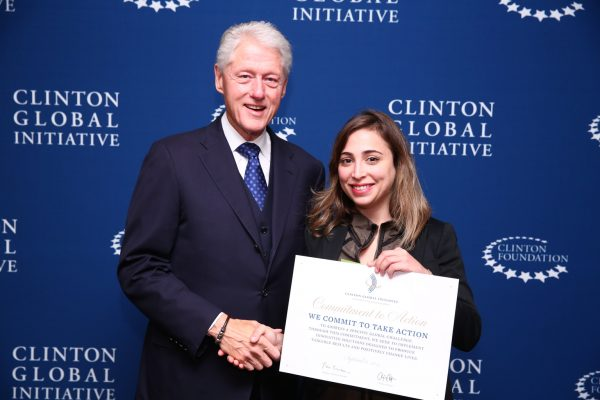Former President Bill Clinton with littleBits CEO Ayah Bdeir, confirming littleBits' commitment to support the UNCG Refugee Program at the Clinton Global Initiative Annual Meeting in 2015. The Clinton Global Initiative convenes global leaders to create and implement innovative solutions to the world's most pressing challenges