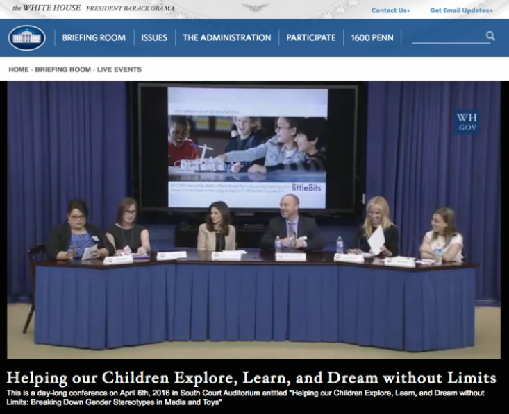 Ayah onstage at the White House with speakers from LEGO, Disney, Mattel and DC Comics